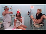 Hot nurse and patient blowing