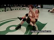 Two female teams wrestling and