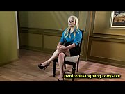 Blonde babe gangbanged and fac