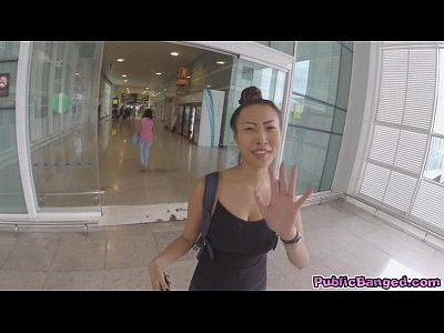 Public Blowjob Bathroom video: Big titted asian Sharon Lee fucked in public airport parking lot