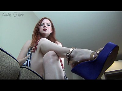 Femdom Foot video: Lady Fyre perfect legs, ass and Feet in Purple Wedges