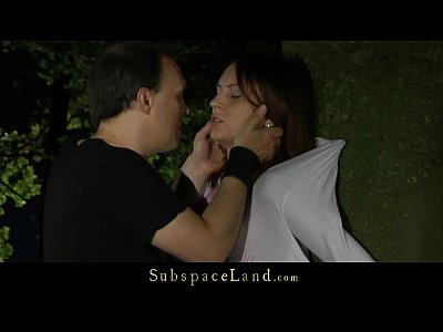 Nataly bound in the forest at night and fucked